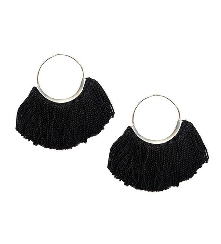 Erin Considine Ridge Fringe Hoops in Logwood Black Fine Silk