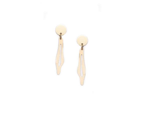 Modern Weaving Drip Earrings in Brass