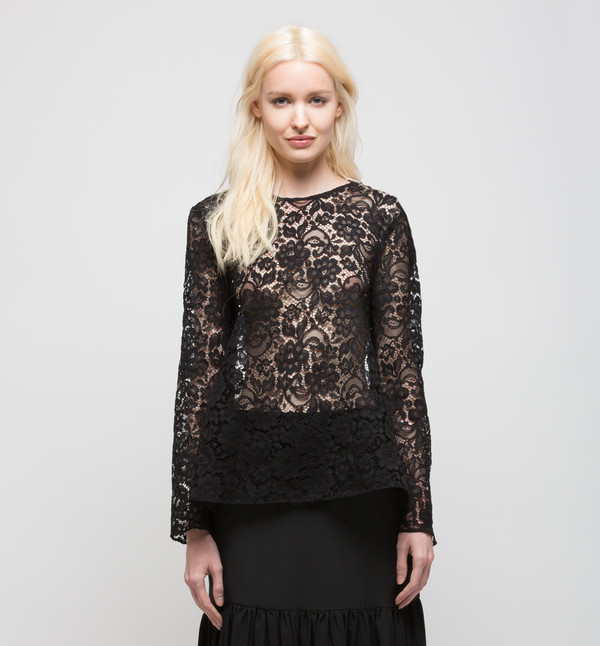 Ryan Roche Tie-Back Top Black French Lace