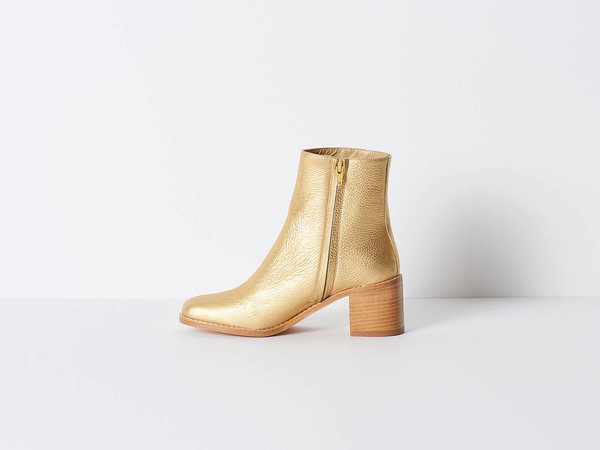 Maryam Nassir Zadeh Gold Metallic Boot