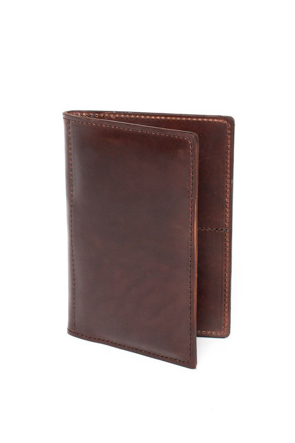 Wood & Faulk Traveler Wallet Dark Brown