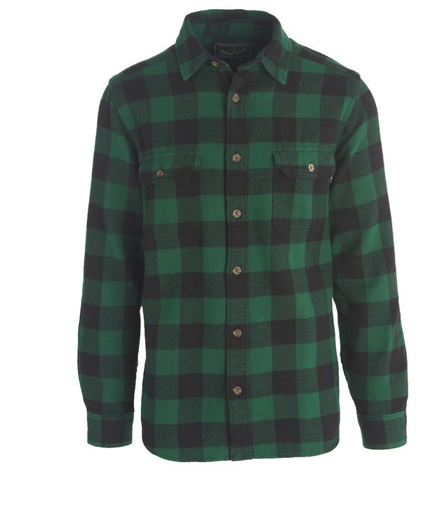 Men's Woolrich Oxbow Bend Plaid Flannel Shirt - Forrest Green Buffalo