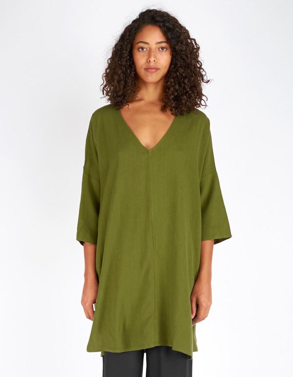 Ali Golden Raw Silk Kimono Tunic Olive