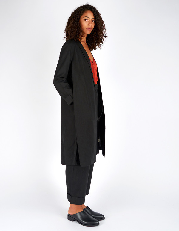 Ali Golden Raw Silk Notch Jacket Black