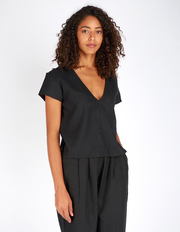 Ali Golden Raw Silk V-Neck Top Black