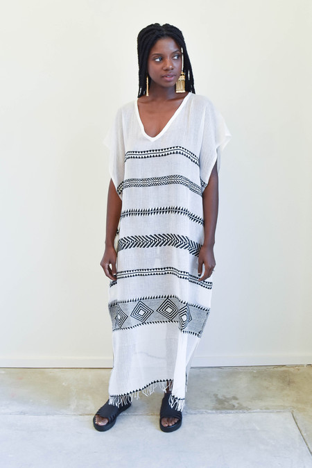 LemLem Freya Caftan in Black and White