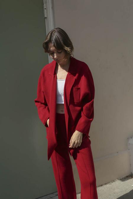 Giu Giu Double Knit Blazer in Pomegranate