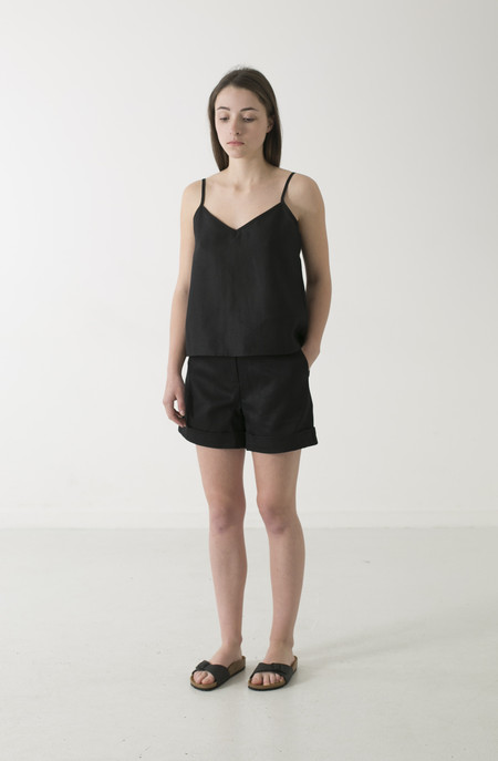 GOOD STUDIOS WOMENS HEMP TWILL HIGH WAIST SHORTS
