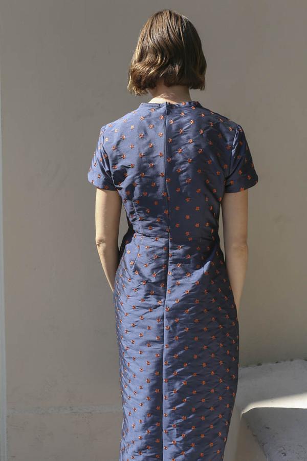 Nikki Chasin Marta Pleat Dress in Navy/Ochre
