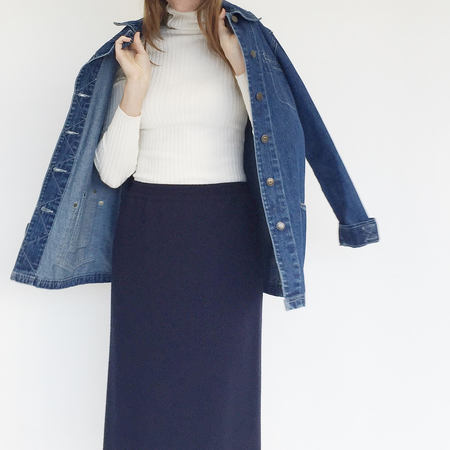 Johan Vintage Navy Wool Pencil Skirt
