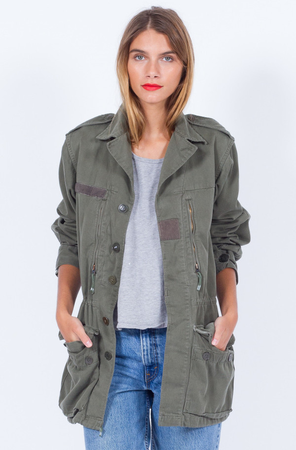 KHAKI JACKET (SMALL-MEDIUM)