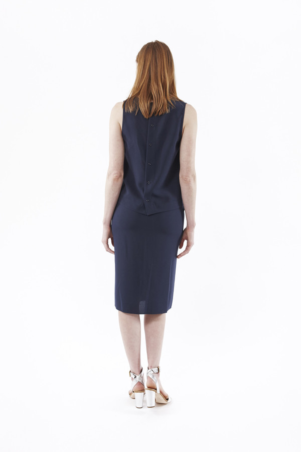 Jenni Kayne Crepe Tie Skirt in Navy
