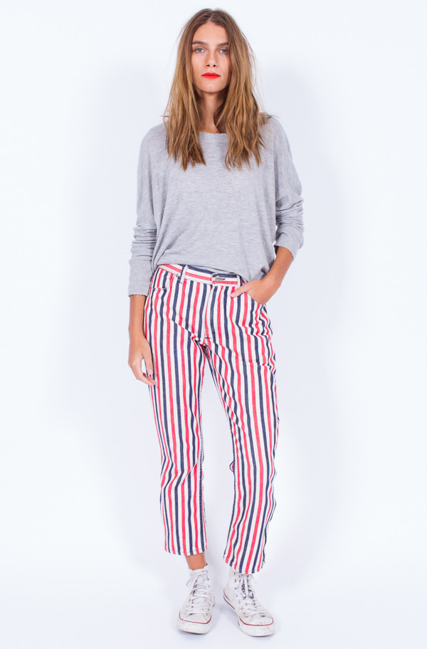 Striped Red White and Blue Denim Pants (Small)
