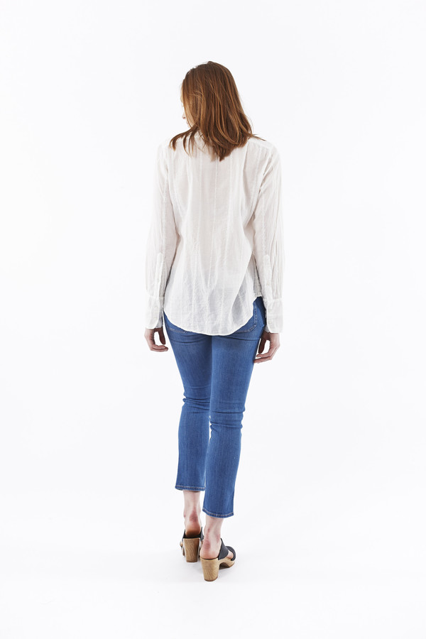 Nili Lotan Embroidered Stripe Shirt in White