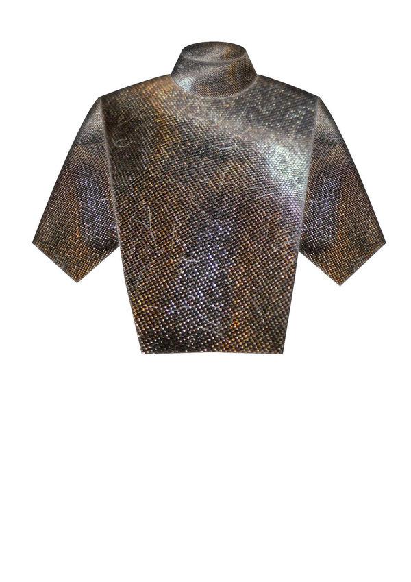 Berenik SHIRT - TURTLENECK BLACK WITH GOLDEN SHINE