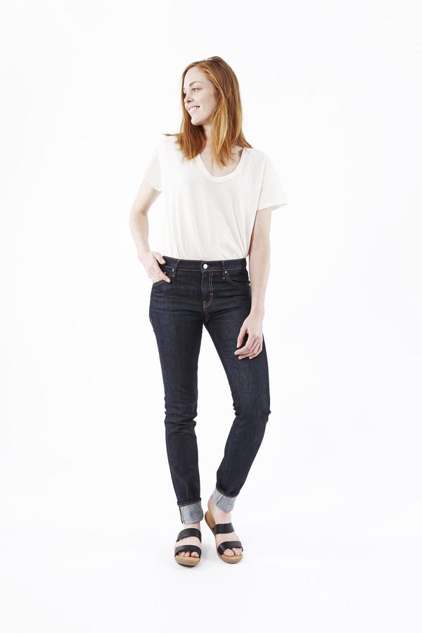 EARNEST SEWN Natasha Midrise Skinny Jeans in Dark Blue