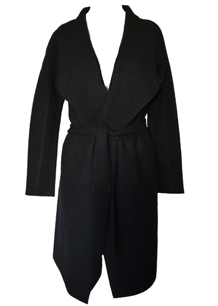 LINE | SVEN BELTED WOOL COAT IN BLACK