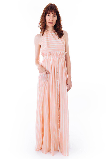 Mara Hoffman Pink Stripe Halter Dress