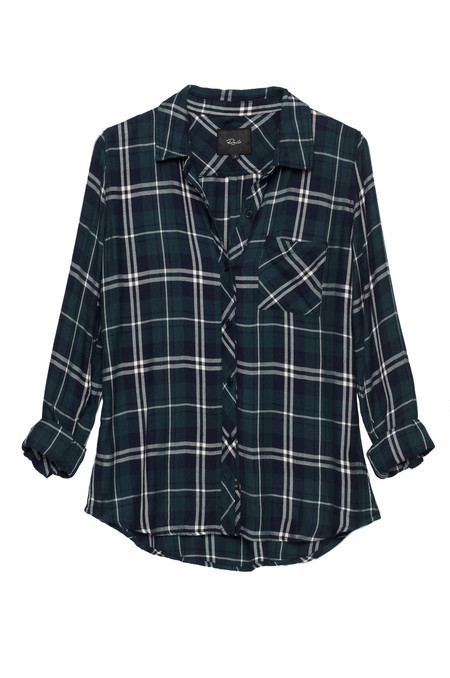 RAILS HUNTER BUTTON DOWN IN FOREST GREEN, WHITE & NAVY