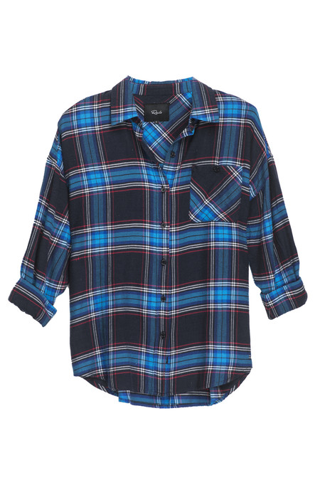 RAILS JACKSON FLANNEL BUTTON DOWN IN BLACK & AZURE