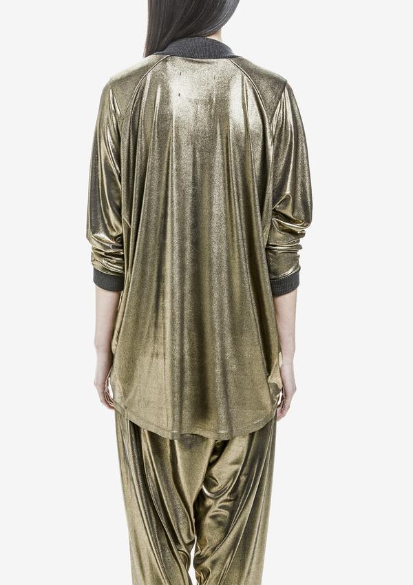 Berenik Sweater Long Sleeve V-Collar Metallic Cotton Jersey Gold