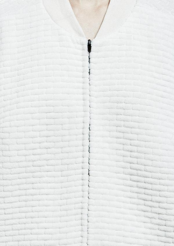 Berenik Pilot Jacket Zip Quilted Fleece - White Quilt