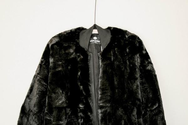 Berenik Pilot Jacket Buttonfront Faux Fur - Black