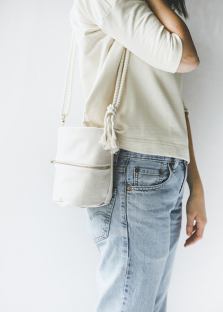 Lotfi Mini Bucket Bag in Natural