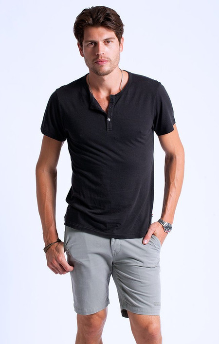 Sol Angeles Essential S/S Henley V - Black