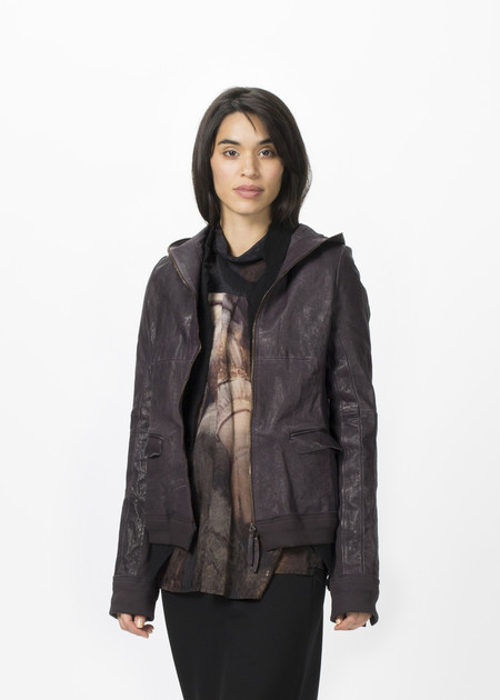 Rundholz Hooded Leather Coat