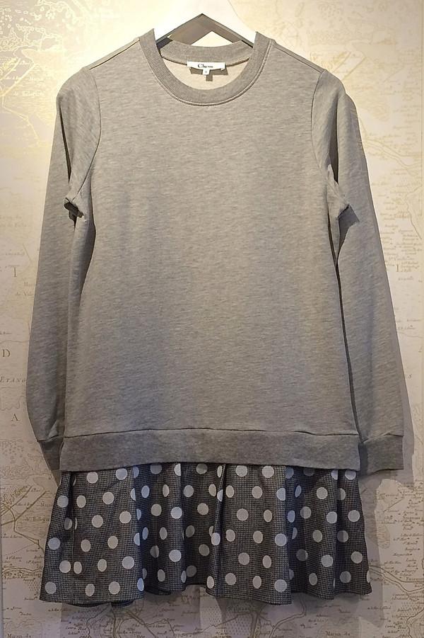 Clu Sweatshirt Dress with Polkadot Pleat Bottom
