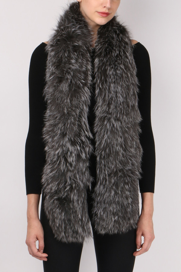 Jocelyn Fur Silver Fox Sections Scarf
