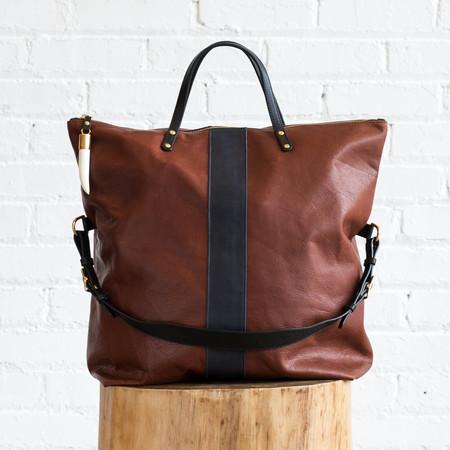 Kempton & Co Morleigh Foldover Handbag Tote - Brandy/Navy