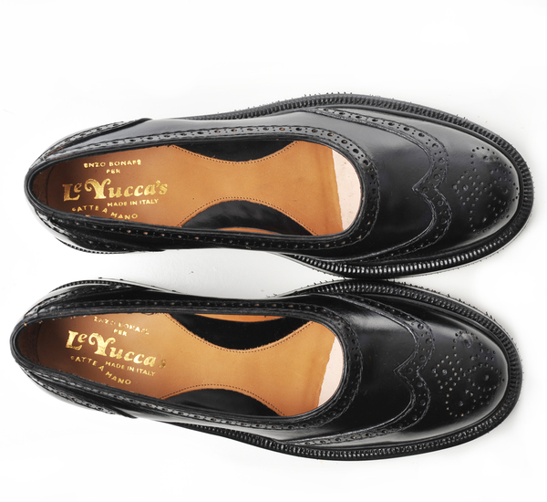 Le Yucca's Black Kalen Ballet Lug Sole Slip On