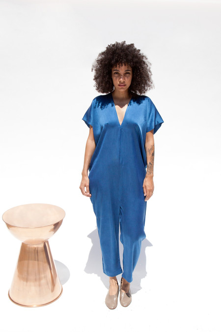 Miranda Bennett In-Stock: Everyday Jumpsuit, Silk Charmeuse in Indigo