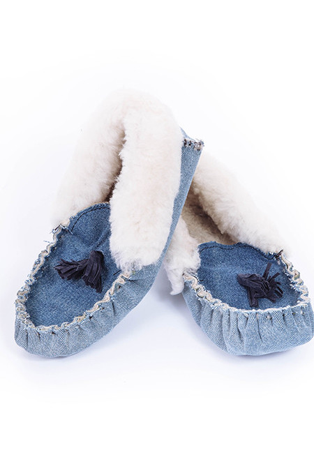 Proud Mary Denim Tassel Slipper