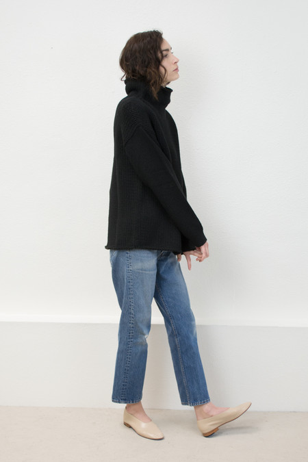 Micaela Greg Black Funnel Neck Sweater