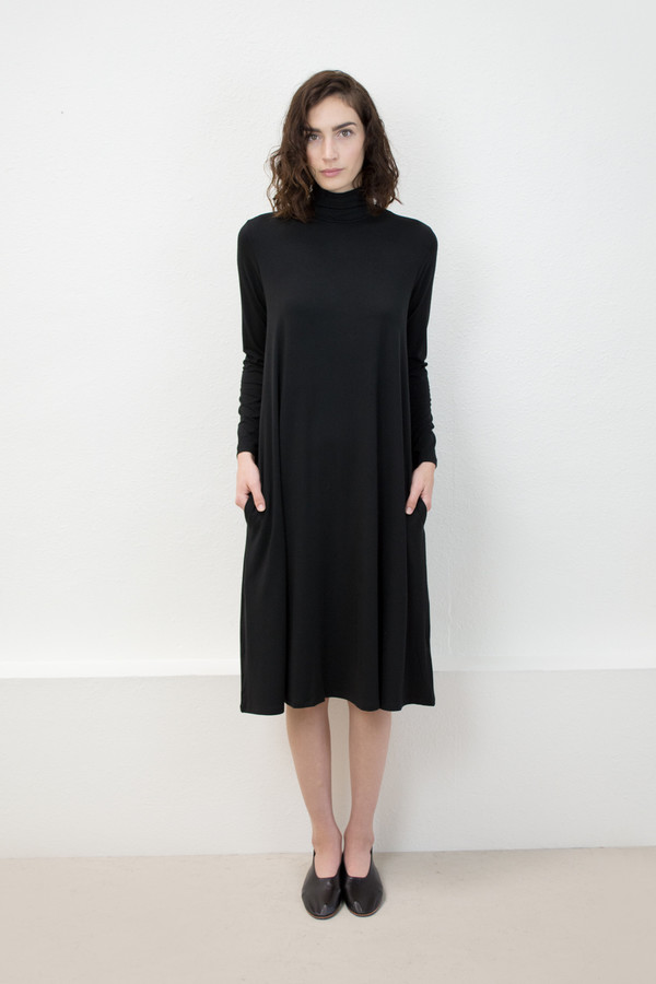 Micaela Greg Black Jersey Mock Neck Dress