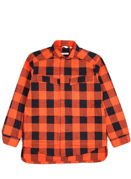 Men's The Hill-Side Astro Cargo Shirt Blaze Orange Buffalo Check
