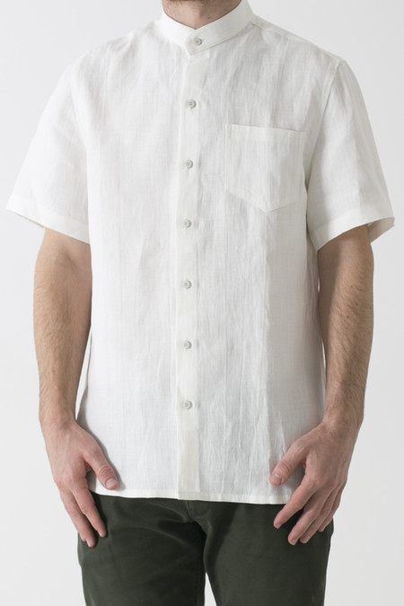 Men's GOOD STUDIOS MENS HEMP LINEN MANDARIN COLLAR SHORT SLEEVE SHIRT