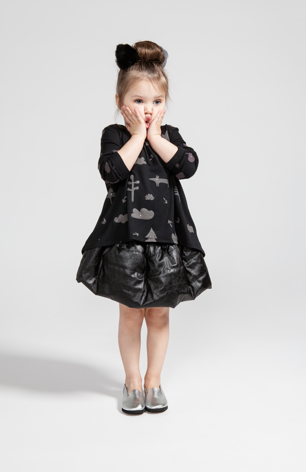 OMAMImini Black Quilted Skirt