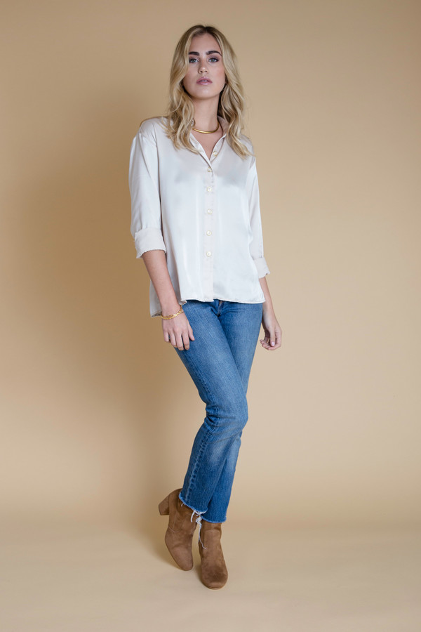BETWEEN TEN Phoebe Blouse - Ivory Satin