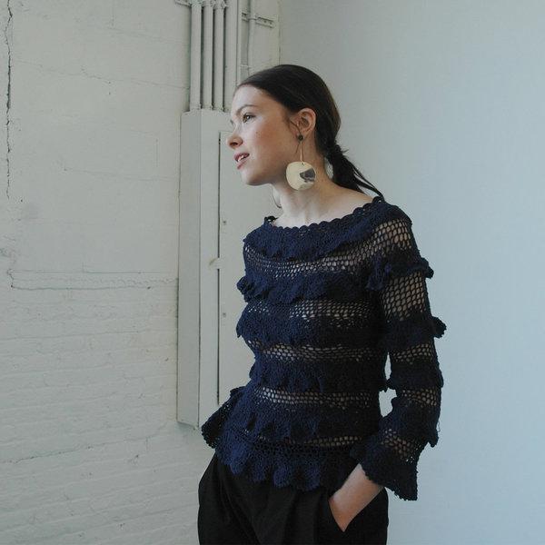 Nikki Chasin Lia Crochet Ruffle Top- Navy
