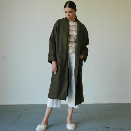 Nikki Chasin Lozano Shawl Collar Coat - Olive