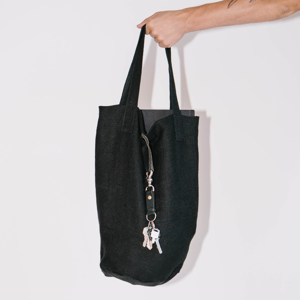 Blluemade Black Linen Mail Tote