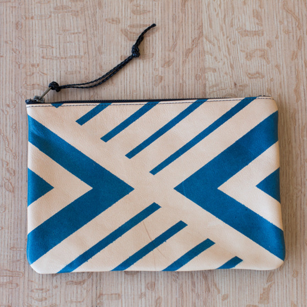 AVO Geometric Hand Painted Leather Clutch