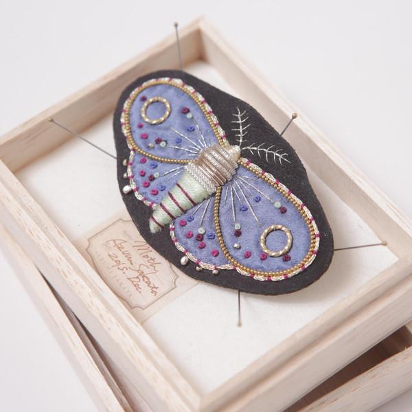 Azumi Sakata Moth Brooch, Black - Medium