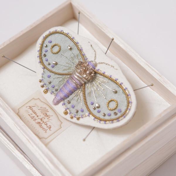 Azumi Sakata Moth Brooch, White - Medium