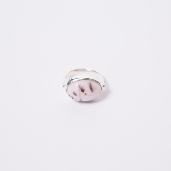 RVVL Pink Opal Scarab Swivel Ring
