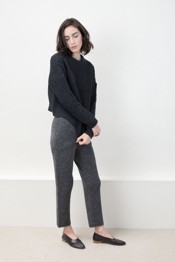 Micaela Greg Melange Black Bevel Sweater